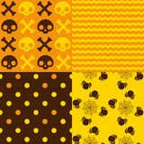 Halloween Patterns. Set of patterns for October 31st with classic halloween icons in Autumn colors Stock Photo
