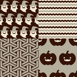 Halloween Patterns. Set of patterns for October 31st with classic halloween icons. It has subtle colors Stock Image