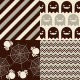 Halloween Patterns. Set of patterns for October 31st with classic halloween icons. It has subtle colors Royalty Free Stock Photos