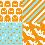 Halloween Patterns. Set of patterns for October 31st with classic halloween icons in vintage style Royalty Free Stock Images