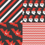 Halloween Patterns. Set of patterns for October 31st with classic halloween icons in vintage style Stock Image