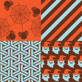 Halloween Patterns. Set of patterns for October 31st with classic halloween icons in vintage style Stock Photography