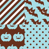 Halloween Patterns. Set of patterns for October 31st with classic halloween icons in vintage style Royalty Free Stock Photos