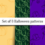 Halloween patterns set. Set of three hand drawn vector Halloween seamless patterns. perfect for Halloween party invitation card, poster, banner, or flyer Stock Photo