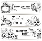 Halloween pencil sketch decoration elements Royalty Free Stock Image