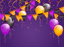 Halloween pennants and balloons on violet background. Halloween violet background with multicolored pennants, balloons, streamers and confetti, illustration Royalty Free Stock Photo