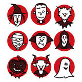 Halloween people on red Royalty Free Stock Images