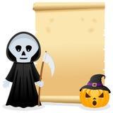 Halloween-Perkament met Onverbiddelijke Maaimachine Stock Foto