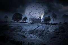 Halloween. Photo composition with an abandoned haunted house for Halloween holiday Royalty Free Stock Photo