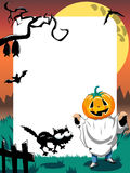 Halloween Photo Frame Kid Phantom Vertical Stock Images