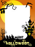 Halloween Photo Frame Ghost Castle. Halloween photo frame, post card or page for your scrapbook. Eps file is available Royalty Free Stock Image
