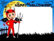 Halloween Photo picture frame border kid devil costume Stock Photos