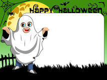 Halloween Photo picture frame border kid ghost costume Stock Image