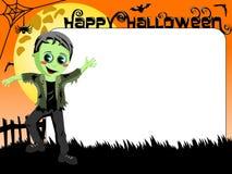 Halloween Photo picture frame border kid monster costume Stock Image