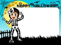 Halloween Photo picture frame border kid skeleton costume Stock Photo