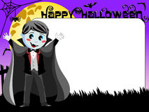 Halloween Photo picture frame border kid vampire costume Stock Photos
