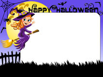Halloween Photo picture frame border witch flying Stock Images