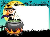 Halloween Photo picture frame border witch potion calderon Royalty Free Stock Photos