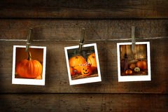 Halloween photos on wood Royalty Free Stock Photos