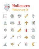 Halloween-pictogrammen geplaatst vlakke lijnstijl Royalty-vrije Stock Afbeelding