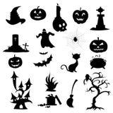 Halloween-Pictogrammensilhouetten Royalty-vrije Stock Afbeelding
