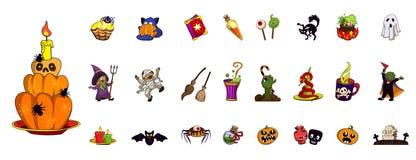 Halloween-pictogramreeks, beeldverhaalstijl royalty-vrije illustratie