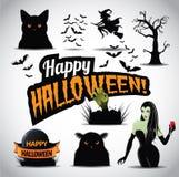 Halloween-pictogramreeks en titel Stock Afbeelding