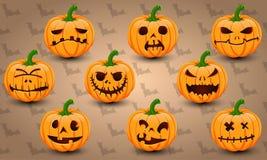 Halloween-pictogramreeks pompoenen Royalty-vrije Stock Afbeeldingen