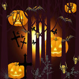 Halloween picture with bats. Jpeg and vector picture - halloween theme, deep forest, pumpkins, crosses and bats Stock Photography