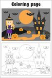 Halloween picture with witch in cartoon style, coloring page, education paper game for the development of children, kids preschool stock illustration