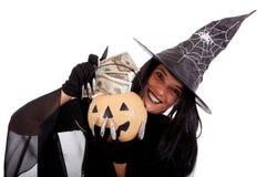 halloween pieniądze oszczędzania czarownica Zdjęcia Stock