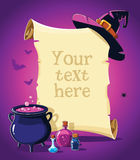 Halloween pink banner with empty paper scroll Royalty Free Stock Photo