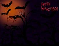 Halloween Pipistrelli sull'albero e sulla luna Immagini Stock Libere da Diritti
