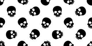 Halloween-Pirat gekreuzter Knochen Muster des Schädels lokalisierte nahtloser Knochengift Geistschal Wiederholungstapeten-Fliesen Lizenzfreie Stockfotografie