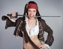 Halloween Pirate Costume. Halloween sword pirate costume woman Royalty Free Stock Images