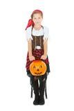 Halloween : Pirate mignon de fille de Hallowen photos stock