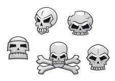 Halloween or Pirate themed skull set. With a skull and crossbones and four additional skull designs Stock Photography
