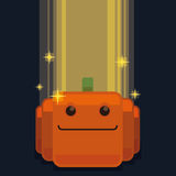 Halloween Pixel Pumpkin with Light and Glows Royalty Free Stock Photography