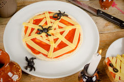 Halloween pizza with spiders stock photo