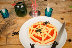 Halloween pizza still life Royalty Free Stock Images