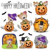 Halloween a placé avec la bande dessinée Teddy Bear Photos libres de droits