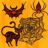 Halloween a placé avec le chat, chauve-souris, araignée, Web Images libres de droits