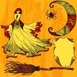Halloween a placé avec le fantôme, lune, balai, rouleau Photographie stock