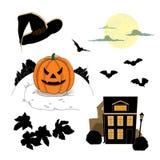 Halloween a placé avec les éléments décoratifs Images libres de droits