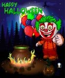 Halloween-Plakat mit Clown mit Ballonen Auch im corel abgehobenen Betrag Lizenzfreie Stockbilder