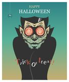 Halloween-Plakat mit Dracula-Vampir im Retrostil stockfotos