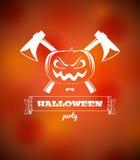 Halloween-Plakat mit Kürbis und Äxten Stockbild