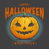 Halloween-Plakat mit lächelndem Kürbis stockfoto