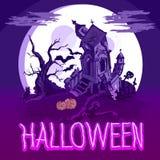 Halloween-Plakat mit Schloss, Baum und Zombie Stockfotografie