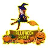 Halloween-Plakatdesign mit Vektorhexencharakter Lizenzfreies Stockbild